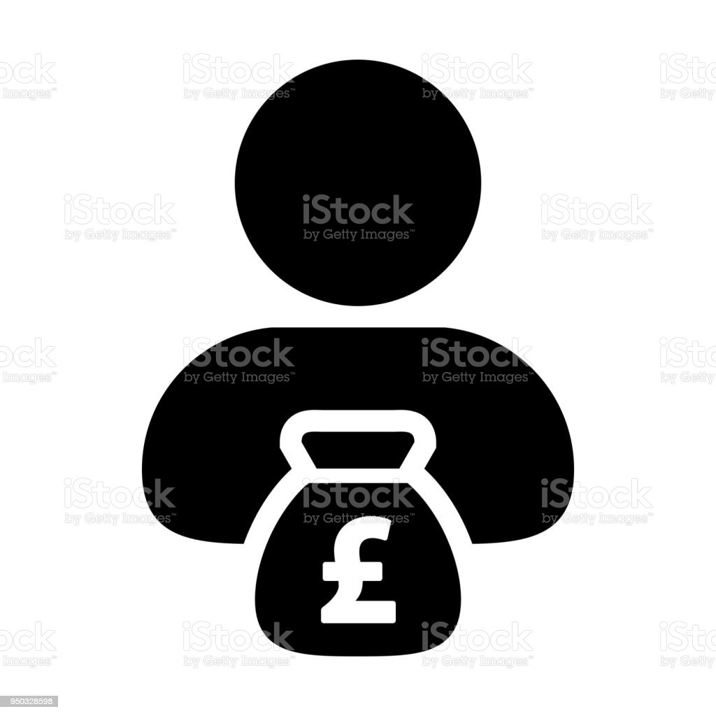 British Pound Sign Symbol Icon Vector Currency Money Bag With Male