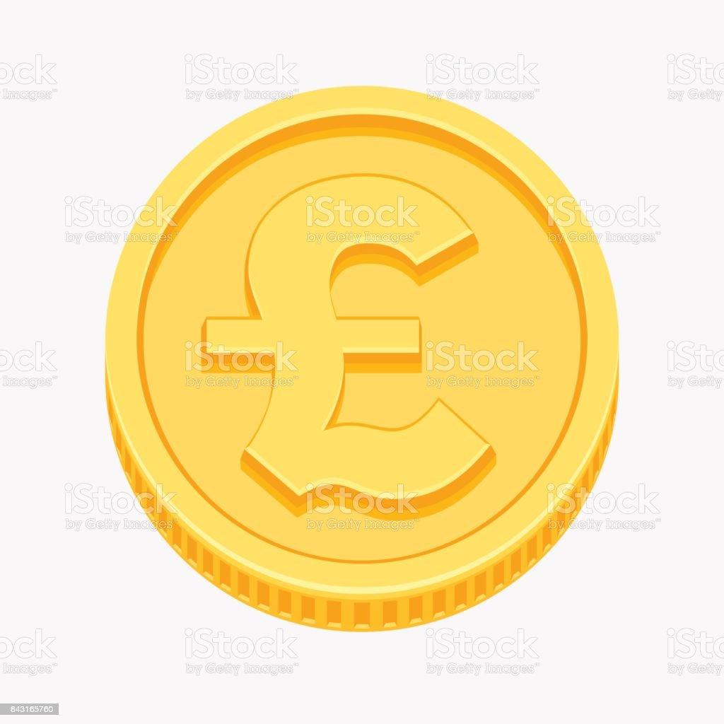 British Pound Sterling Symbol On Gold Coin Stock Vector Art More
