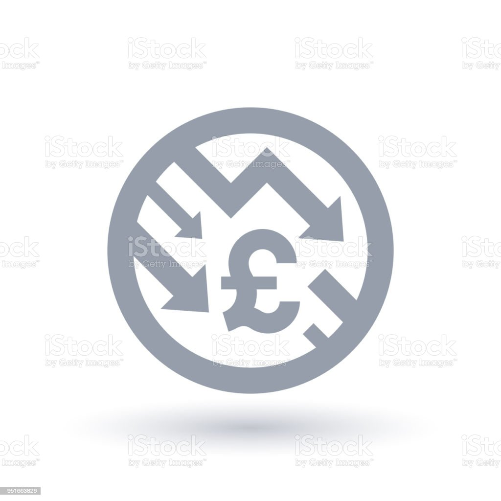 British Pound With Arrows Down Concept Icon Great Britain Economic