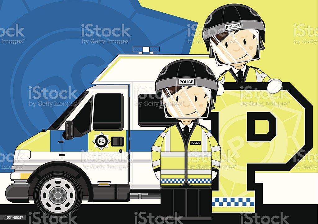 Britische Riot Polizisten Buchstabe P – Vektorgrafik