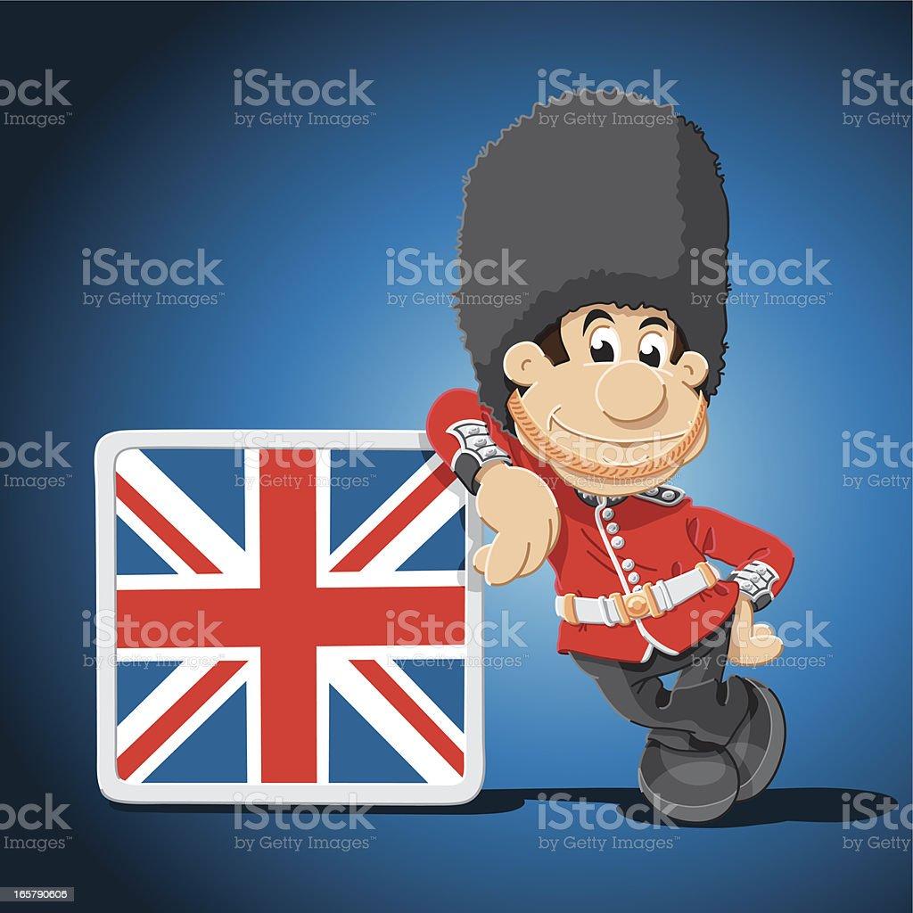 British Royal Guard Cartoon Man Leaning Sign royalty-free stock vector art