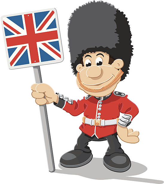 British Royal Guard Cartoon Man Union Jack Isolated Vector Illustration of a Royal Guard Cartoon Man, who is holding an union jack sign. The illustration is on a transparent background (.eps-file). The colors in the .eps-file are ready for print (CMYK). Included files: EPS (v8) and Hi-Res JPG. cartoon people sign stock illustrations