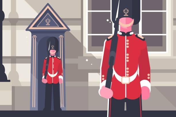 британский королевский гвардеец королевы солдат характер - культура великобритании stock illustrations