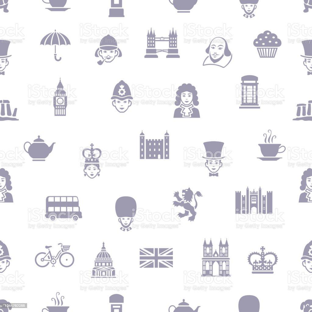 British Seamless Pattern vector art illustration