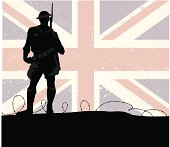 A british soldier with the flag behind him.