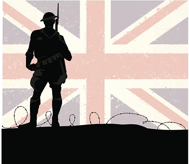 British Soldier vector art illustration
