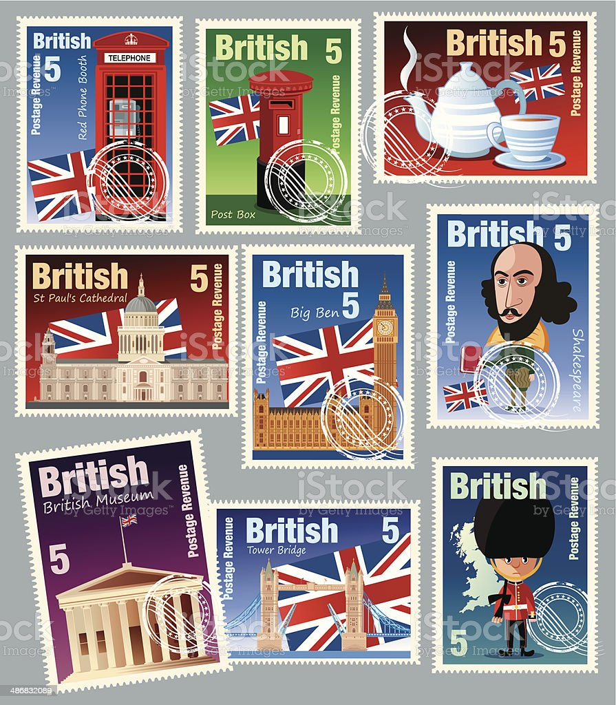 British Stamps royalty-free stock vector art