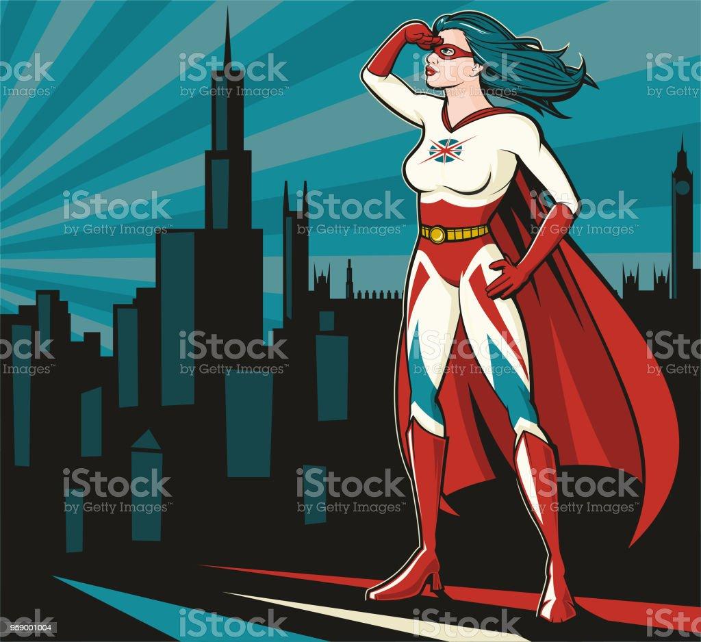 British Super Woman vector art illustration