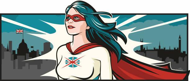 britische super frau - superwoman stock-grafiken, -clipart, -cartoons und -symbole