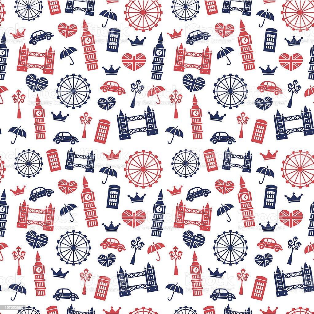 British Symbols Pattern royalty-free stock vector art