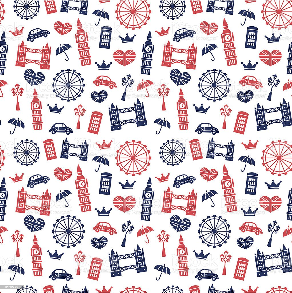 British Symbols Pattern vector art illustration