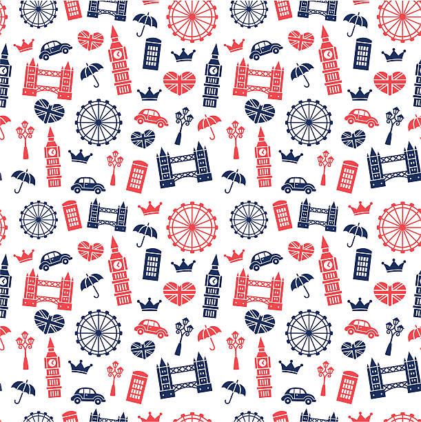 영국 기호들 패턴 - 잉글랜드 문화 stock illustrations