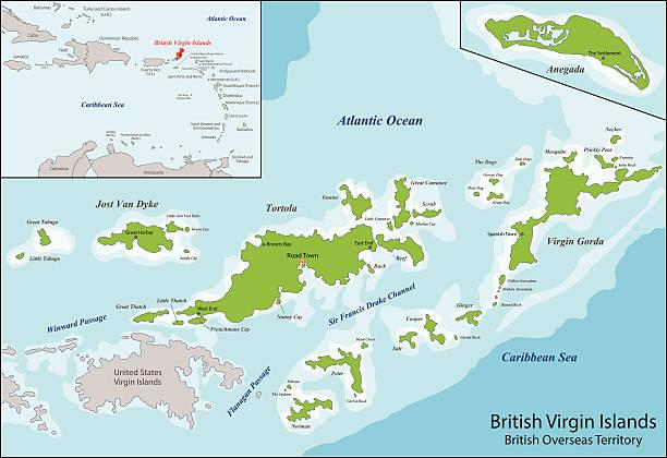 british virgin islands map vector art illustration