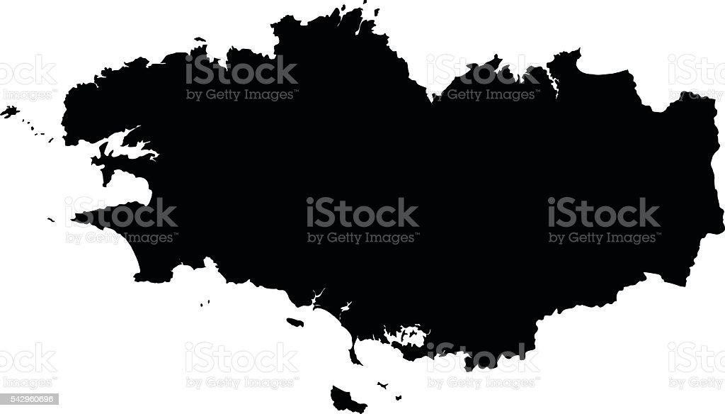 Bretagne noir sur fond blanc vecteur carte - Illustration vectorielle