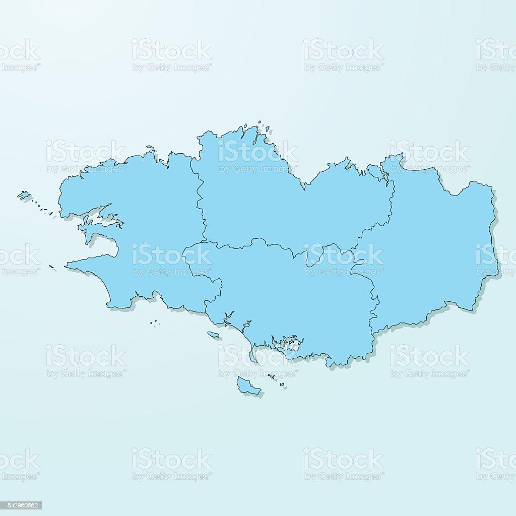 Bleu de Bretagne carte sur fond de vecteur de dégradé - Illustration vectorielle