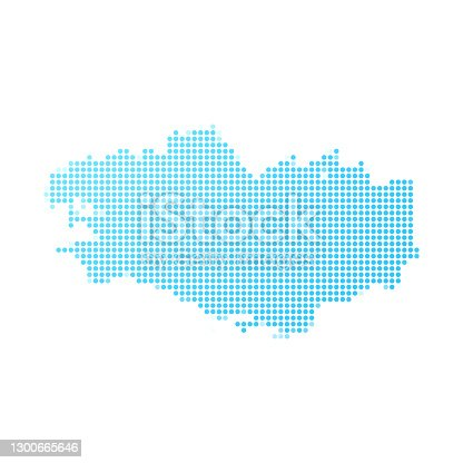istock Brittany map in blue dots on white background 1300665646