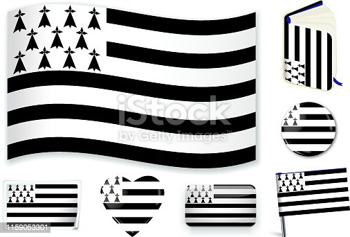 Brittany flag in wave, book, circle, pin, button, heart and sticker shapes.