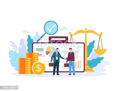 istock Brker banker finance management customer concept. Vector flat graphic design illustration 1302136872