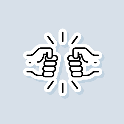 Bro fist bump punch sticker, logo, icon. Vector. Fist bump icon. Relationship concept. Vector on isolated background. EPS 10