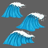 Set of vector marine icons. Broad and narrow colorful waves isolated on grey background.