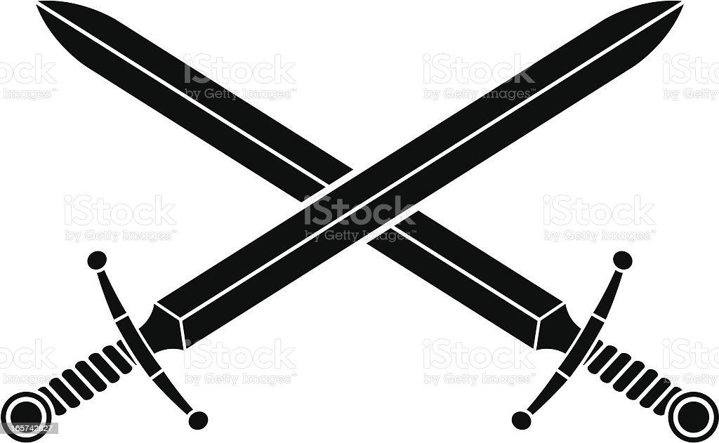 Broad swords vector art illustration