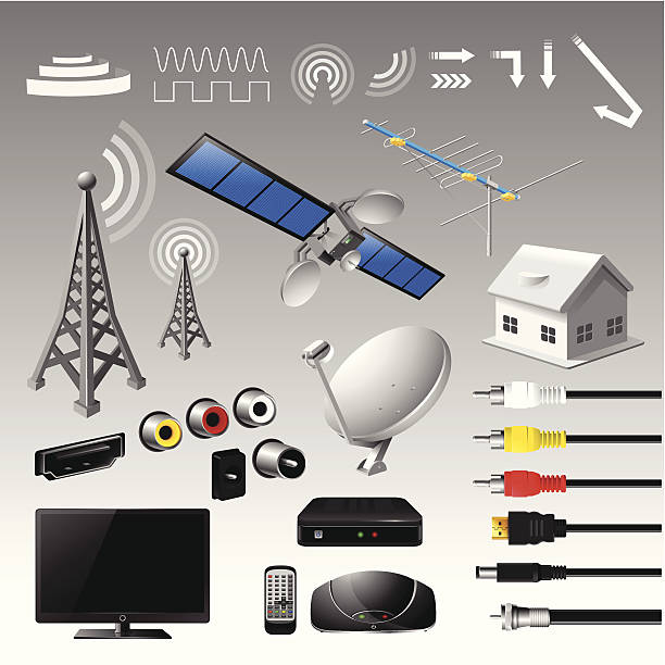 broadcast digital tv broadcast and digital tv vector set - vector illustration cable tv stock illustrations