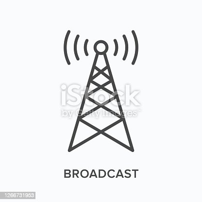 istock Broadcast flat line icon. Vector outline illustration of communication tower. Wireless signal thin linear pictogram 1266731953
