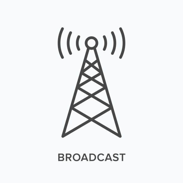 Broadcast flat line icon. Vector outline illustration of communication tower. Wireless signal thin linear pictogram Broadcast flat line icon. Vector outline illustration of communication tower. Wireless signal thin linear pictogram. repeater tower stock illustrations