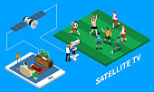 Telecommunication satellite tv isometric composition with live streaming of football match on blue background 3d vector illustration