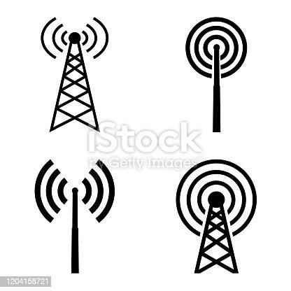 istock broadcast, transmitter antenna icon, logo isolated on white background 1204158721