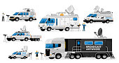 Broadcast vans. Broadcasting transport set. Television channel van, car, truck, auto vehicles with satellite antenna for live news information broadcast collection. Reporter reporting on camera
