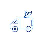 Broadcasting car with satellite dish line concept icon. Broadcasting car with satellite dish flat  vector website sign, outline symbol, illustration.