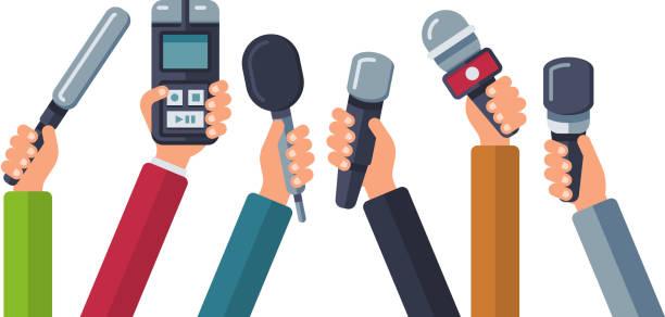 illustrations, cliparts, dessins animés et icônes de diffusion, télévision des médias, interview, fond de vecteur de presse et de nouvelles avec des mains tenant des microphones - interview