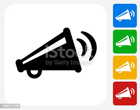 Broadcasting Megaphone Icon. This 100% royalty free vector illustration features the main icon pictured in black inside a white square. The alternative color options in blue, green, yellow and red are on the right of the icon and are arranged in a vertical column.