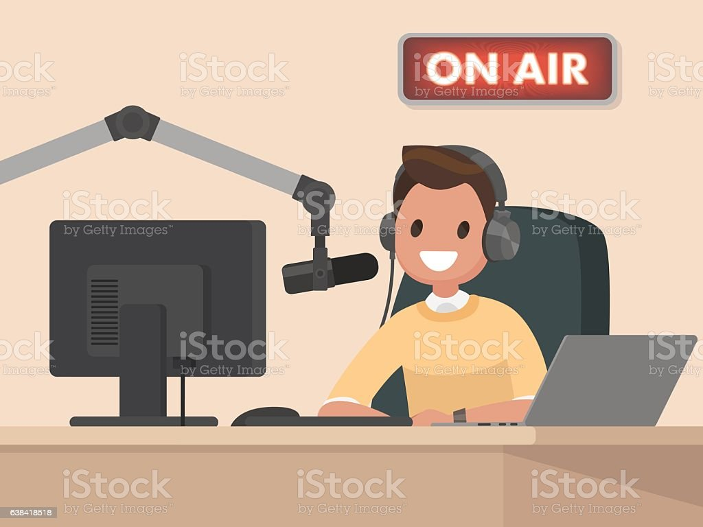 Broadcasting. Radio host behind a desk speaks into the microphon vector art illustration