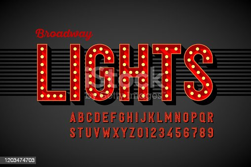 istock Broadway lights retro style font 1203474703