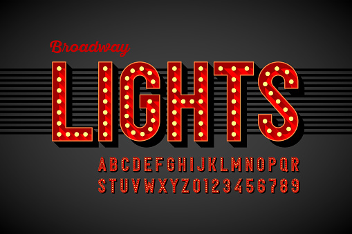 Broadway lights retro style font