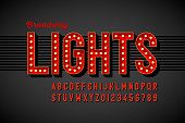 Broadway lights retro style font with light bulbs, vintage alphabet letters and numbers vector illustration