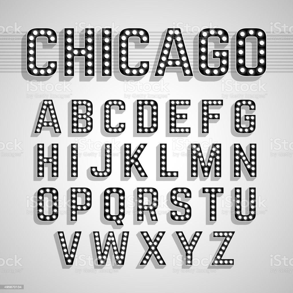 Broadway lights style light bulb alphabet vector art illustration