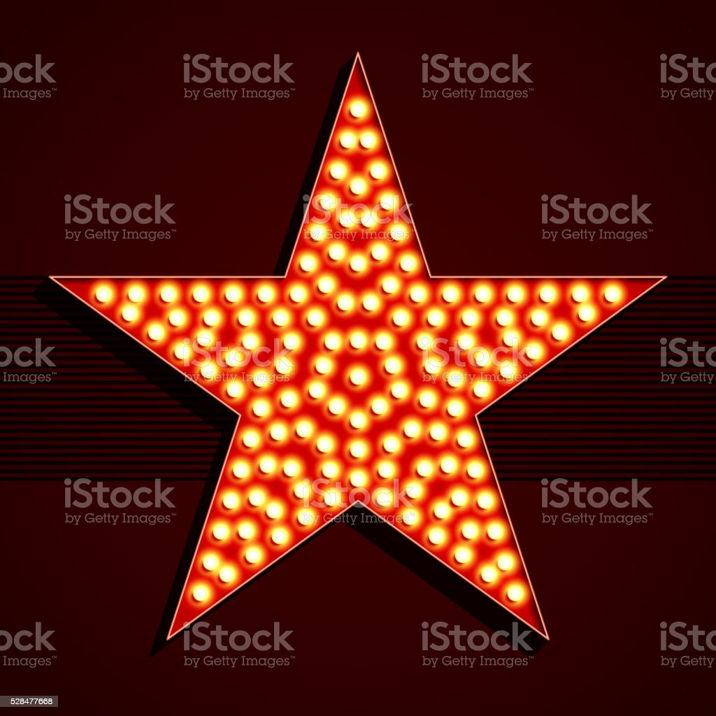 Broadway style light bulb star shape vector art illustration