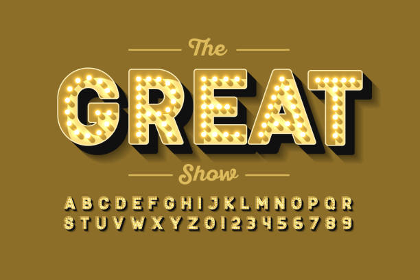 Broadway style retro light bulb font Broadway style retro light bulb font, vintage alphabet letters and numbers vector illustration casino stock illustrations