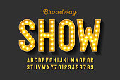 Broadway style retro light bulb font, vintage alphabet letters and numbers, vector illustration