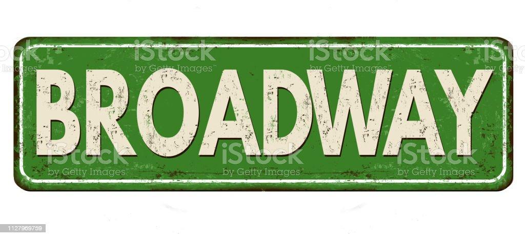 Letrero de metal oxidado vintage Broadway - ilustración de arte vectorial