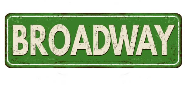 ilustraciones, imágenes clip art, dibujos animados e iconos de stock de letrero de metal oxidado vintage broadway - señalización vial