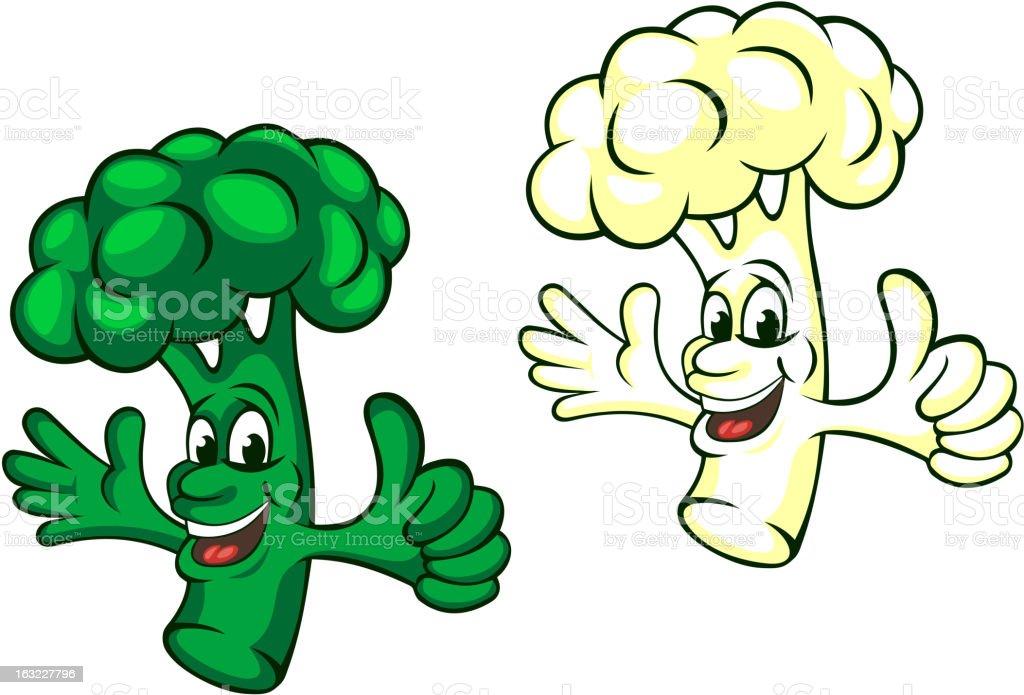 Broccoli and cauliflower royalty-free stock vector art