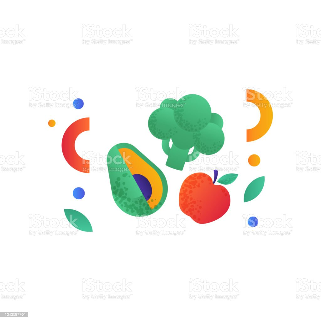 Broccoli, avocado, red apple, vegan or balanced diet food signs, healthy lifestyle concept, vector Illustration on a white background vector art illustration