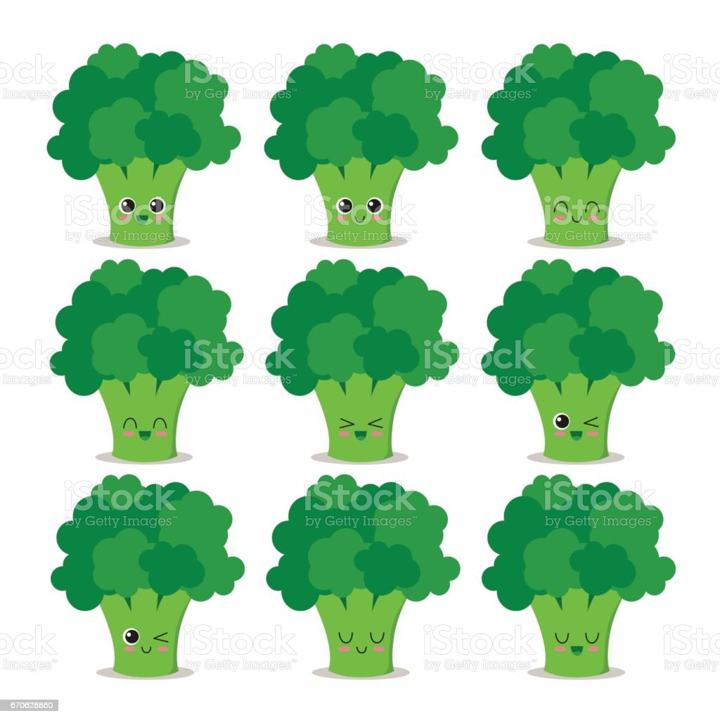 Collection de caractères de brocoli - Illustration vectorielle