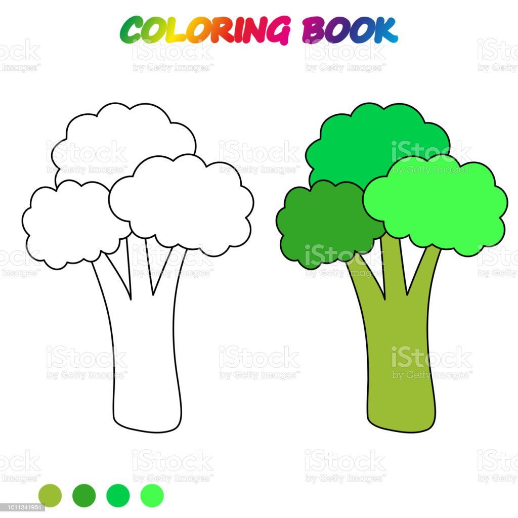 Broccoli Coloring Book Coloring Page To Educate Preschool Kids Game ...