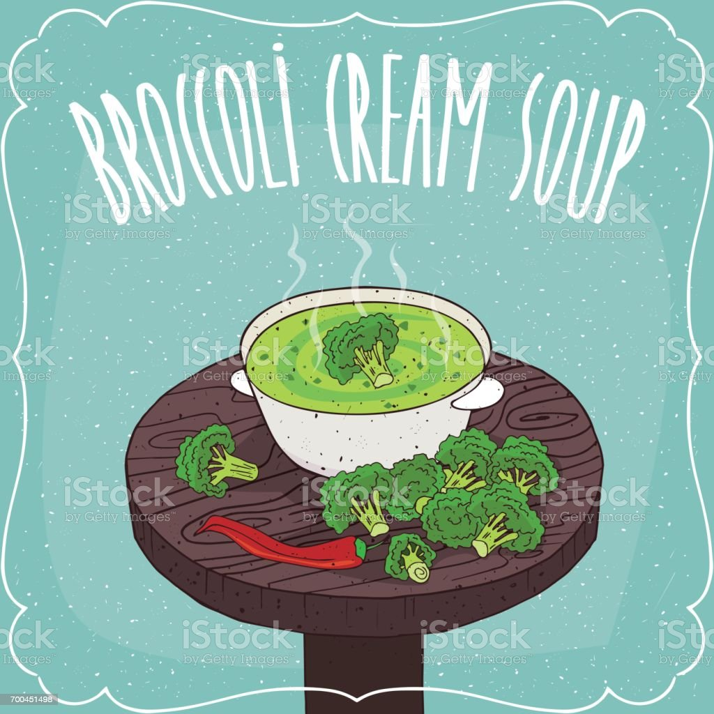 Broccoli cream soup with fresh vegetables vector art illustration