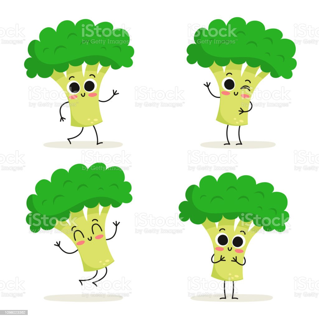 Broccoli Cute Vegetable Vector Character Set Isolated On White Stock